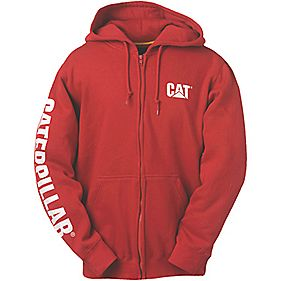 CAT CW10840 Zip Hooded Sweatshirt Chilli M
