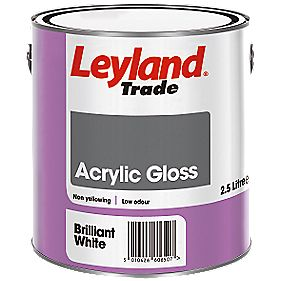 Leyland Acrylic Gloss Paint Brilliant White 2.5Ltr
