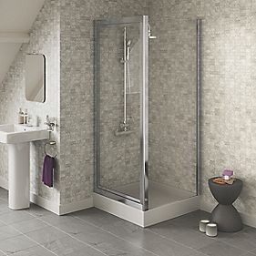 Swirl Square Pivot Door Shower Enclosure Silver 900mm