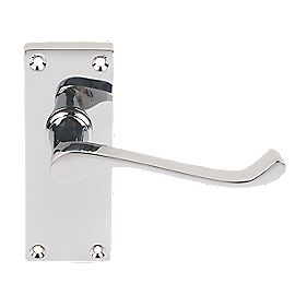 Victorian Short Backplate Scroll Door Handle Pack Polished Chrome