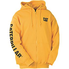 CAT CW10840 Zip Hooded Sweatshirt Yellow M