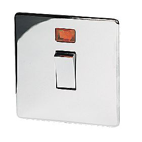 Crabtree 20A DP Switch + Neon Pol Chrome Flat Plate