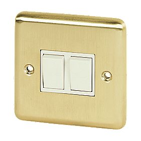 Volex 10A 2-Gang 2-Way Switch Wht Ins Brushed Brss Round Edge