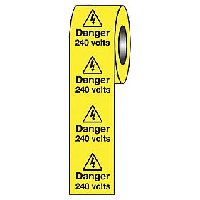 """Danger 240V"" Adhesive Labels 50 x 50mm Roll of 250"