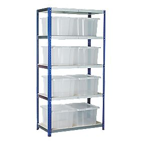 Barton Ecorax Shelving 900 x 450mm 5 Shelves with 8 x 35Ltr Top Boxes