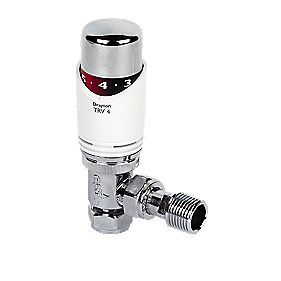 Drayton TRV4 White & Chrome TRV 15mm Angled