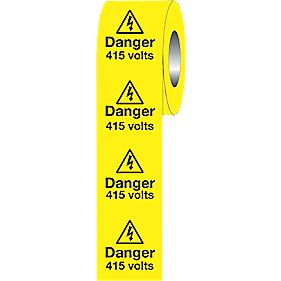 """Danger 415V"" Adhesive Labels 50 x 50mm Roll of 250"