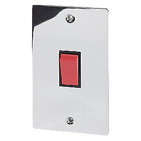 Volex 45A DP Switch Blk Ins Polished Chrome Flt Plt