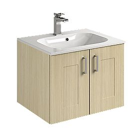 Vanity Shaker Double Base Unit & Basin Oak 600mm