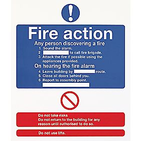 "Glow-In-The-Dark ""Fire Action"" Sign 210 x 148mm"
