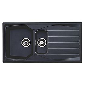 Astracast Teflite 1½ Bowl Square Kitchen Sink w/Reversible Drainer Black