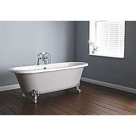 Traditional Freestanding Roll Top Bath Paintable Acrylic 0 Tap Hole 1700mm