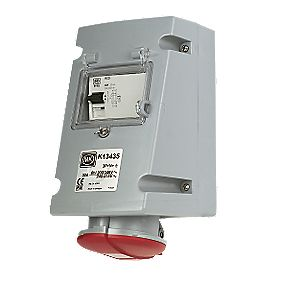 380-415V MK Commando Interlocked Angled Socket 3P+E+N RCD (IP44)