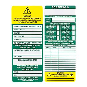 Scafftag Scaffold Standard Inspection Inserts Pack of 10