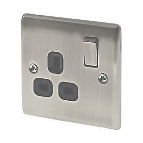 British General 13A 1-Gang DP Switched Plug Socket Brushed Iridium