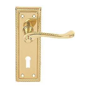 Georgian External Door Handle Pack Polished Brass