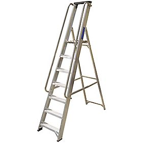 Lyte Heavy Duty Aluminium Platform Ladder & Safety Handrails 7-Tread 2.13m