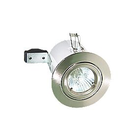 Robus Adjustable Round Low Voltage Fire Rated Downlight Brushed Chrome 12V