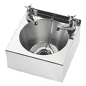 Franke Model A Round Wall-Hung Washbasin 305mm with 2 Taps Stainless Steel 1 Bowl & 305 x 155mm