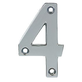 Polished Chrome Door Numeral No. 4 - 75mm