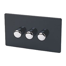 Varilight 3-Gang 1/2Way Jet Black Push Dimmer 3 x 250W