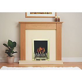 Be Modern Avondale Traditional Brass & Natural Oak Electric Fire & Surround