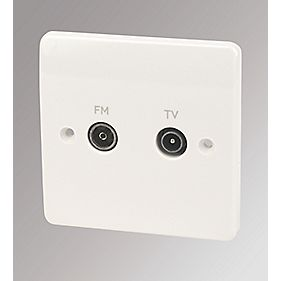 MK Logic Plus 1-Gang TV/FM Coaxial Socket White