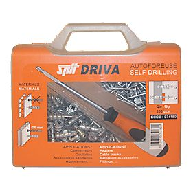 Spit Self-Drill Plasterboard Fixings 35mm & Screwdriver Pack of 200