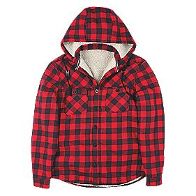 Site Cedar Check Borg Lined Hoody Red L 42-44""