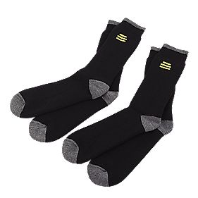 B and Q Socks 2 Pairs Black Size 6-12 Black Size 6-12