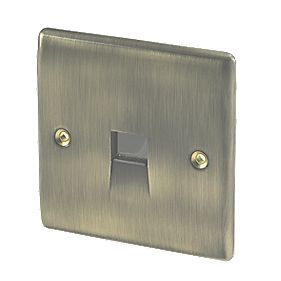 British General 1-Gang Telephone Slave Socket Antique Brass