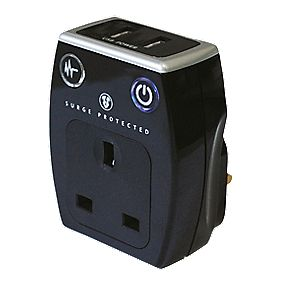 Masterplug Surge Protected USB Adaptor 2 x 1A USB Polished Black