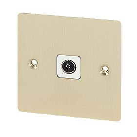Volex TV Socket Blk Ins Brushed Brass Flat Plate