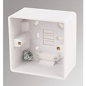 LAP 1-Gang Surface Pattress Box w/ Cable Clamp & Earth Terminal White 50mm