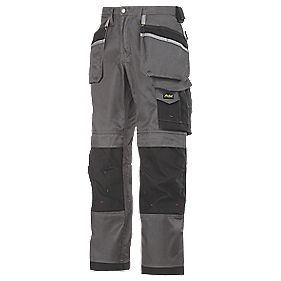 "Snickers 3212 DuraTwill Trousers Grey/Black 35"" W 32"" L"