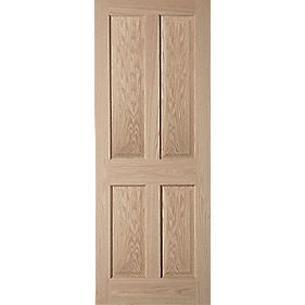 Jeld-Wen Oregon Solid 4 Panel Interior Fire Door Oak Veneer 1981 x 762mm