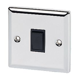 Volex 10A 1-Gang 2-Way Switch Blk Ins Pol Chrome Angled Edge