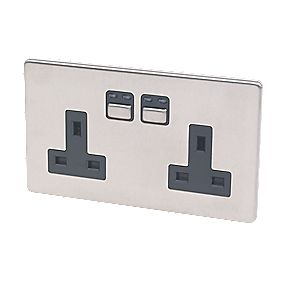 2G 13A Single Pole Switched Socket Stainless Steel