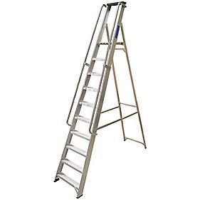 Lyte Heavy Duty Platform Ladder & Safety Handrails Aluminium 10 Treads 2.7m