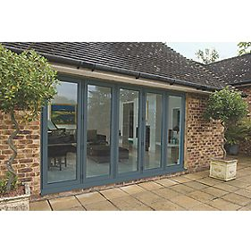 Unbranded Bi-Fold Double-Glazed Patio Door Grey Aluminium 3939 x 2094mm