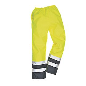 "Hi-Vis 2-Tone Traffic Trousers Elasticated Yellow/Navy Large 36-38"" W 31"" L"
