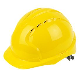 JSP EVOLite Printed Safety Helmets Yellow Pack of 10
