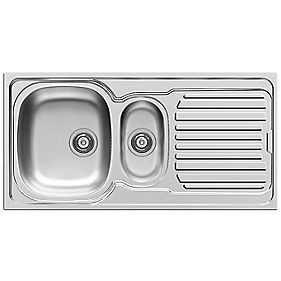 Pyramis Aurora Kitchen Sink Stainless Steel 1½ Bowl & Reversible Drainer 1000 x 500mm