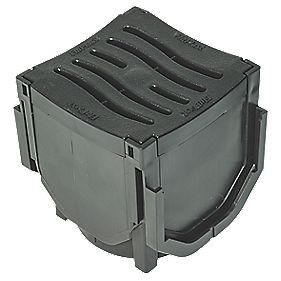 FloPlast FloDrain Corner Unit Black 110mm