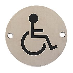 Disabled Sign Satin Stainless Steel 76mm Toilet Signs