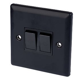 Volex 10A 2-Gang 2-Way Switch Blk Ins Matt Black Angled Edge
