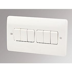 MK Logic Plus 6-Gang 2-Way 10AX Light Switch White