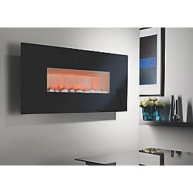 Focal Point Midnight Contemporary Electric Wall Hung Fire Black Black 2.12kW