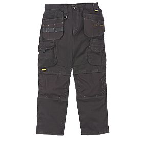 "DeWalt Pro Heavyweight Canvas Work Trousers Black 40"" W 31"" L"