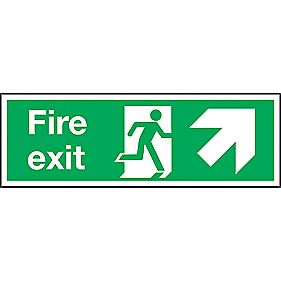 """Fire Exit"" Right Arrow Sign 150 x 450mm"